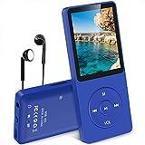MP3 Player, 8 GB verlustfrei MP3 mit 1.8 Zoll Bildschirm, 70 Stunden Wiedergabezeit, Unterstützung FM Radio, Bilder, Aufnahmen, E-Buch, bis 64 G TF Karte, (Verpackung MEHRWEG) Marineblau -