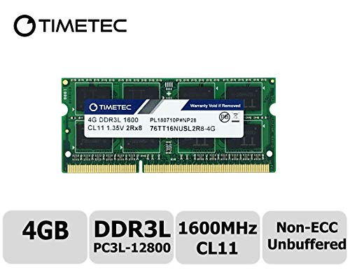 Timetec Hynix IC 4GB DDR3L 1600MHz PC3-12800 Unbuffered Non-ECC 1.35V CL11 2Rx8 Dual Rank 204 Pin SODIMM Laptop/Notizbuch Arbeitsspeicher Module Upgrade (4GB) -