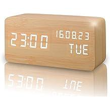 Reloj Alarma Despertador Digital de Madera, Silencioso LED Pantalla Brillo Ajustable / Control de Sonido, Reloj de Mesa Indicador Calendario Tiempo y Temperatura para Hogar y Oficina (Amarillo)