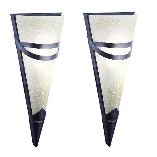 Design-wand-lampe (2er Set Wand Lampe Antik Design Rost Farben Esszimmer Strahler Fackel Leuchte)