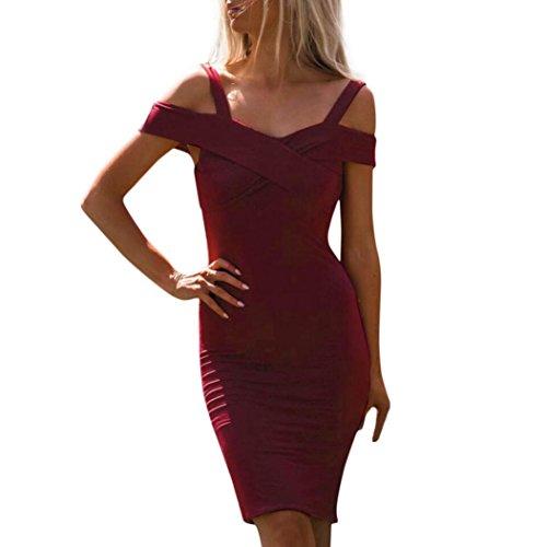 FORH Damen Elegante Kleider Reizvolle Neckholder Cold Shoulder Sommerkleid Ballkleid Formale Ballkleid Party Prom Brautjungfer Abend Cocktailkleid Maxi Kleid (Wine, M) (Formale Abend-taschen)