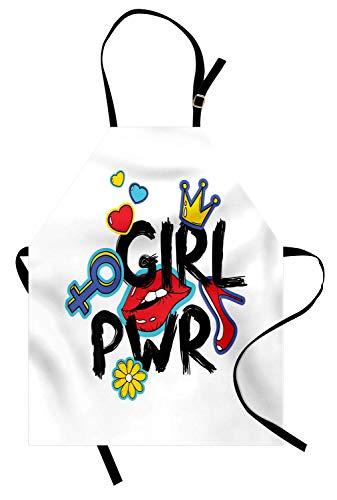 �rze, Girl Power mit einer Krone Princess Style Schriftzug Fett und Hand gezeichneten Aufkleber, Unisex-Küche Latzschürze mit verstellbarem Hals zum Kochen Backen Gartenarbeit, Multi ()
