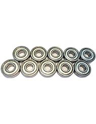 FreeWheeling Confezione di 10 Cuscinetti Sferici doppia lamina Metallo 608ZZ - ABEC 3 - Dim. 8x22x7 mm | 1117547