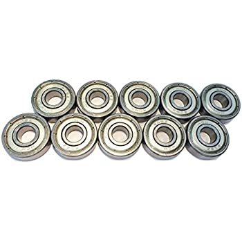 FreeWheeling Confezione di 10 Cuscinetti Sferici doppia lamina Metallo 608ZZ 1117547 ABEC 3 8x22x7 mm Dim