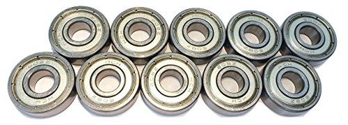 FreeWheeling Paquete de 10 Rodamientos esféricos Doble la hoja de metal 608ZZ - ABEC 3 - Dim.8x22x7 mm   1117547