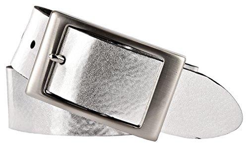 Bernd Götz Damen Leder Gürtel 35 mm silber Nappaleder kürzbar Damengürtel (110 cm)