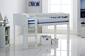 Cabin Bed Shorty Narrow - White - Straight Ladder - Made In The UK.