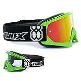 TWO-X Race Crossbrille grün Glas verspiegelt Iridium MX Brille Motocross Enduro Spiegelglas Motorradbrille Anti Scratch MX Schutzbrille