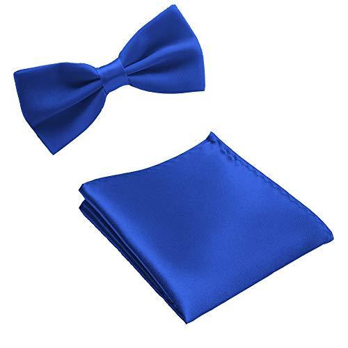 FAHFO Krawatten Hochwertige Mens Hochzeit Einstecktuch Einstecktücher Taschentuch Bowtie Set, Royal Blue - Royal Blue Bowties