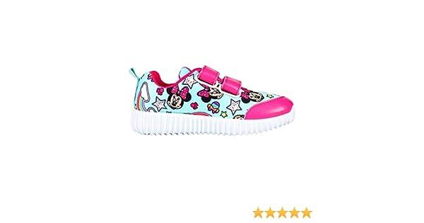 Scarpe di Tela Bambina Minnie Mouse Disney | Senza Lacci con Strap Velcro | Rosa Celeste | Taglie da 24 a 31