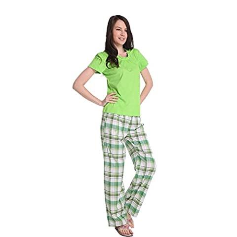 DMMSS Ladies' Home Service Short Sleeve + Trousers 2-Piece Summer Casual Suit Pajamas , Green , S
