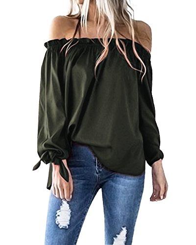 Achioowa donna camicie maniche lunghe sexy spalle scoper autunno bluse fiocco eleganti casual tops shirts verde-militare xl