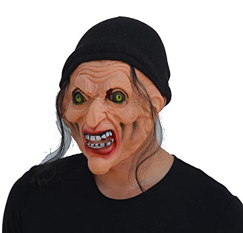 JASNO Deluxe Neuheit Horror Halloween Scary Kostüm Party Latex Schwarz Haar Tragen Hut Hexe Maske Maskerade Requisiten