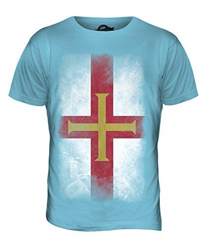 CandyMix Guernsey Verblichen Flagge Herren T Shirt Himmelblau