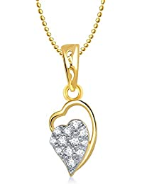Valentine Gifts Meenaz Heart Pendant With Chain Gold Plated For Girls And Women PS176
