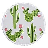WANGXIAOYOU 150X150 Cm Modello Multifunzione Cactus, Asciugamano Spiaggia Rotonda Pizzo con Frange, Asciugamano Bagno Arazzo Yoga Mat Scialle Coperta da Picnic