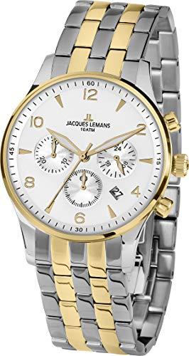 Jacques Lemans Reloj Cronógrafo para Hombre de Cuarzo con Correa en Acero Inoxidable 1-1654ZH