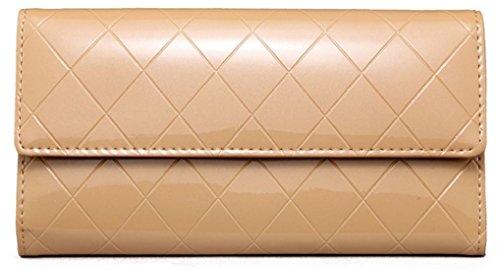 HandbagCrave® Gesteppt Patent Brieftasche (Braun) (Gesteppte Brieftasche)