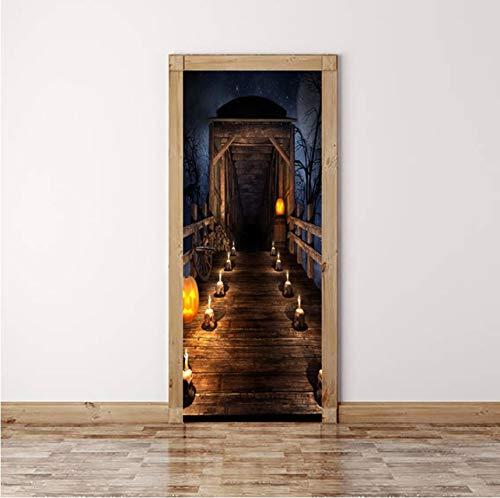 (DAIHNZWC dekorative abnehmbare 3D tür Aufkleber Halloween Hause vor Schlafzimmer tür Aufkleber wandbild tapete 70x200cm Aufkleber auf der tür)