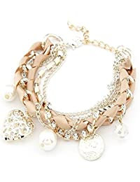 Cinderella Collection By Shining Diva Stylish Beige & Golden Charm Bracelets for Girls and Women