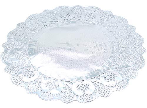 Tischdeckchen aus Papier, 30,5 cm, Silberfolie, Spitze, rund, Kuchenplatte, Basteln, Untersetzer von...