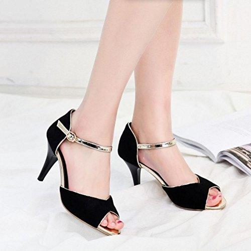 COOLCEPT Damen Mode Knochelriemchen Sandalen Peep Toe Stiletto Schuhe Schwarz