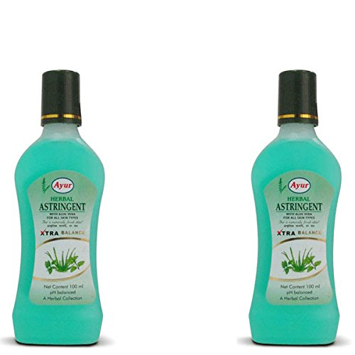 Ayur Herbals Unisex Astringent 3. 3 Oz pH Balanced with Aloe Vera, 100ml - Pack of 2 Bottles (EBBEAA07079)