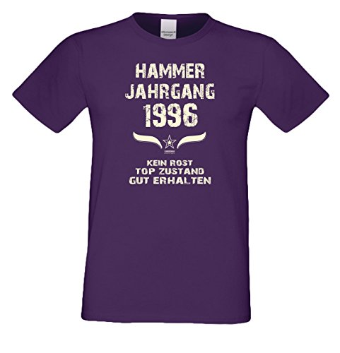 Motivshirt Fun-T-Shirt zum Männer Geburtstag Hammer Jahrgang 1996 Farbe: lila Lila