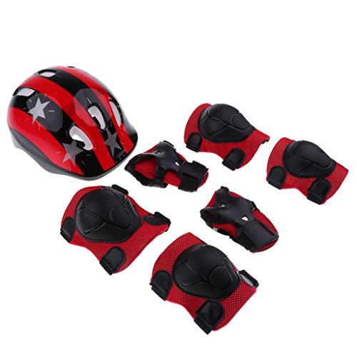 Helm Für Snowboard Mädchen (MagiDeal Skateboard Protektoren Set für Kinder 3-12 Jahren, Helm Knieschoner Ellenbogenschoner Handgelenkschoner für Fahrrad, Skateboard, Roller Skate - Roter Stern, M)