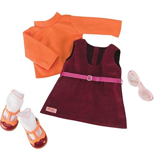 Nuestra Generación 70.60019(Rojo Carta Día Retro muñeca Outfit