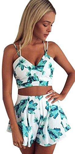 Honeykoko Damen Crop Top + Shorts Culottes Strand-Bikini-Kleid,Sky Blue XL (Clothing Size Womens Trendy Plus)