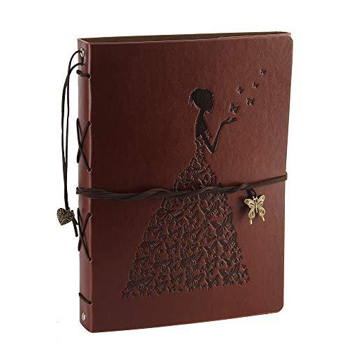 QC Life Foto Album Scrapbook Leder Abdeckung 60 Seiten Premium Black Paper Memory Book, Kinder zurück zu Schule Geschenke, Hochzeitstag Geschenke, Geburtstagsgeschenke(Schmetterlings-Mädchen)