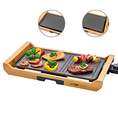 Teppanyaki - Barbacoa eléctrica con marco de madera (1800 W, superficie de la parrilla: 40 cm, termostato, eléctrica)