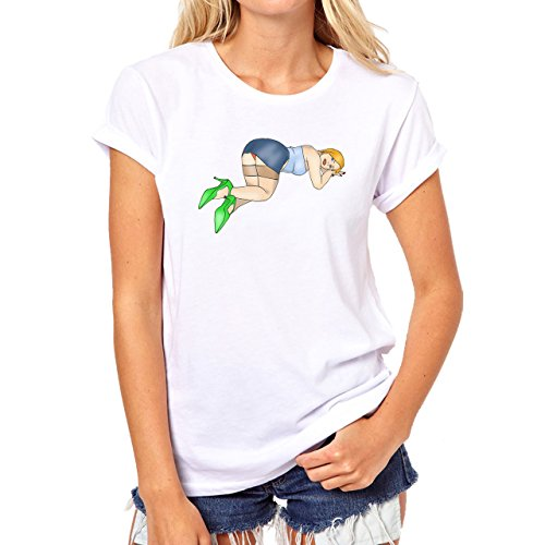 Pin Up Pinup Girls Sexy Bend Over Damen T-Shirt Weiß