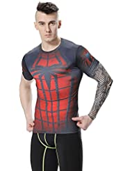 Cody Lundin® T-Shirt de compression manches courtes Homme Sport Fitness Running Shirt pour hommes Spider Héros Tees