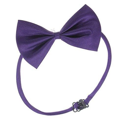 TOOGOO (R) Hunde Katzen Haustier Fliege krawatte Halsschmuck Halsband Hundefliege Hundekrawatte dog Pet tie Necktie Dunkellila - 3
