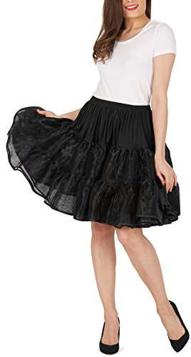 Black Butterfly 20″ Rockabilly Petticoat 1950er-Jahre Komplett aus Satin-Organza Tellerrock (Schwarz, EUR 36 – 42) - 4