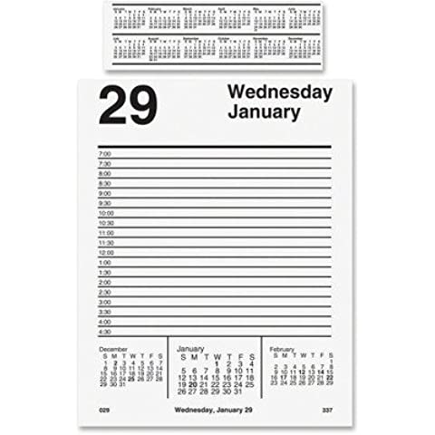 At-A-Glance Products - Daily Desk Calendar Refil, F/ E58 Base, Jan-Dec, 1PPD, 5x8 - Sold as 1 EA - Daily calendar refill includes pad-style sheets and one-page-per-weekday spreads with ruled, half-hourly appointment times from 7 AM to 4:30 PM. Ranges 12 months from January to December. The refill for the full year calendar reference fits under a magnifying lens at the top of each page in the E58-style base. by At-A-Glance