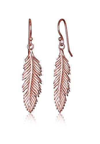Elli Damen-Ohrringe Feder 925 Sterling Silber rosévergoldet 0306771016