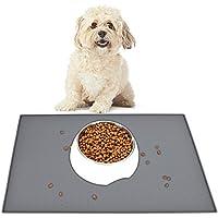 HOGAR AMO Perro Gato Alimento Alfombra de Alimentación Silicona Antideslizante Impermeable Alimento para Mascotas Mantelito de Perro con Borde Levantado