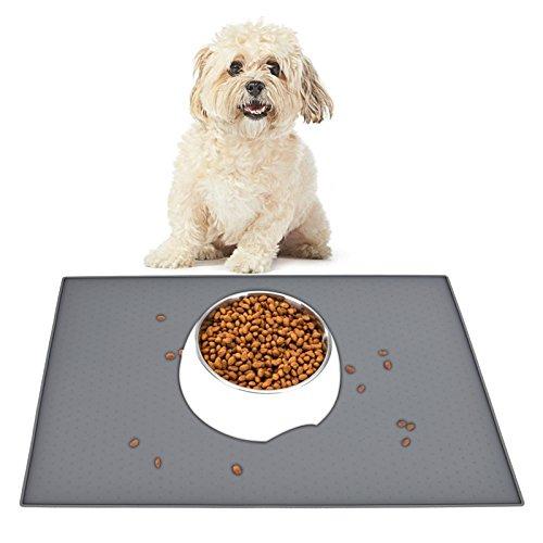 HOGAR AMO Futtermatte mit Rand Hund und Katze Lebensmittel Grade Silikon Napfunterlage Wasserdicht Rutschfest Haustier Matte 48 x 30cm