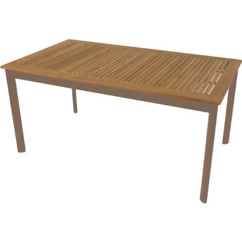 Gartentisch beiges Alu-Gestell mit Teakholz Platte 160x90x75cm
