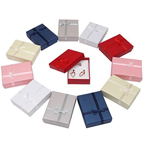 Packung mit 12 Stück, Schmuck Präsentation Geschenkboxen mit Samteinsatz für Halsketten, Armbänder, Ringe und Ohrringe (6 Farben) Rot, Blau, Pink, Grau, Gold und Silber, 8.5 cm X 6.5 cm X 2.5 cm