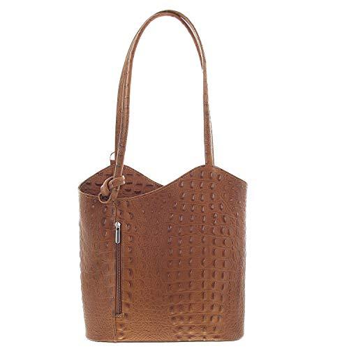 Kroko Leder (IO.IO.MIO Leichter Damen Leder Rucksack Handtasche Schultertasche Umhängetasche Daypack Tagesrucksack Backpack Frauen Tasche 2in1 Damenrucksack Kroko Cognac)