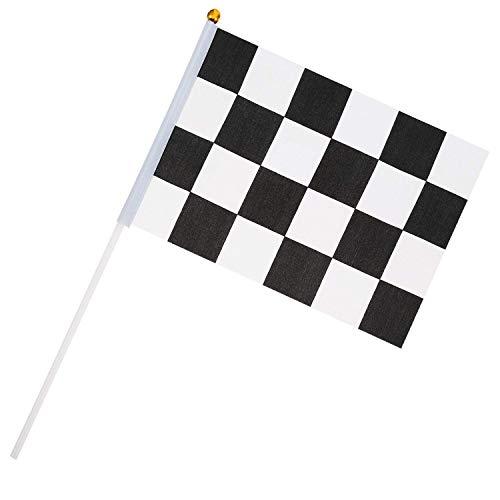 35 Piezas de Banderas a Cuadros Palos de Bandera de Carrera de Mano para Fiesta de Coche Cumpleaños, 8 x 5,5 Pulgadas Negro y Blanco