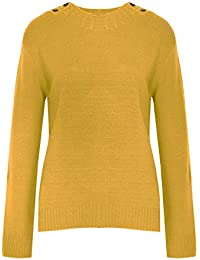 Be Jealous Womens Ladies Knitted 4 Button Long Sleeve Sweater Round Cable Neck Jumper Top UK Size 8-16