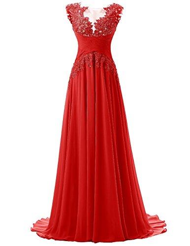 Beonddress Damen Langes Abschlussball Kleid Mit Applikation Chiffon  BrautbrautjunferKleid Rot