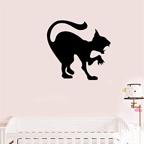 Wandaufkleber Schlafzimmer Gruselig schwarze Katze Halloween Dekoration Zischen Katze Wandkunst, wütende Katze Hallowmas Home Decor