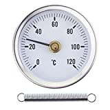 Termometro a clip per tubo dell'acqua calda, da 0 a 120 °C, 63 mm, con molla bimetallica, contatto superficiale in acciaio inossidabile