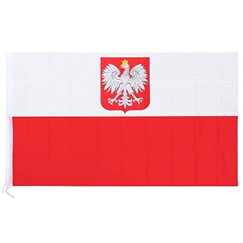 Trixes Große Polen Nationalflagge mit Ringösen zum Aufhängen 90x150cm für Sportveranstaltungen und Nationale Feierlichkeiten